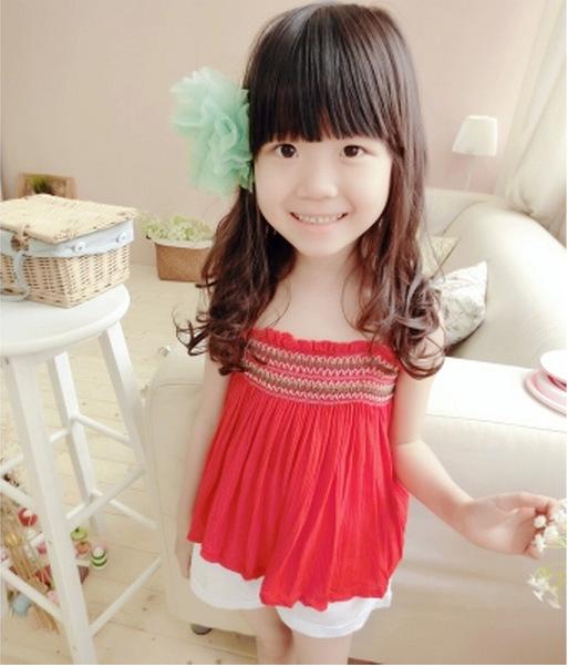多可爱童装2014夏装新款儿童抹胸裙短裙女童吊带裙百褶裙红色百搭