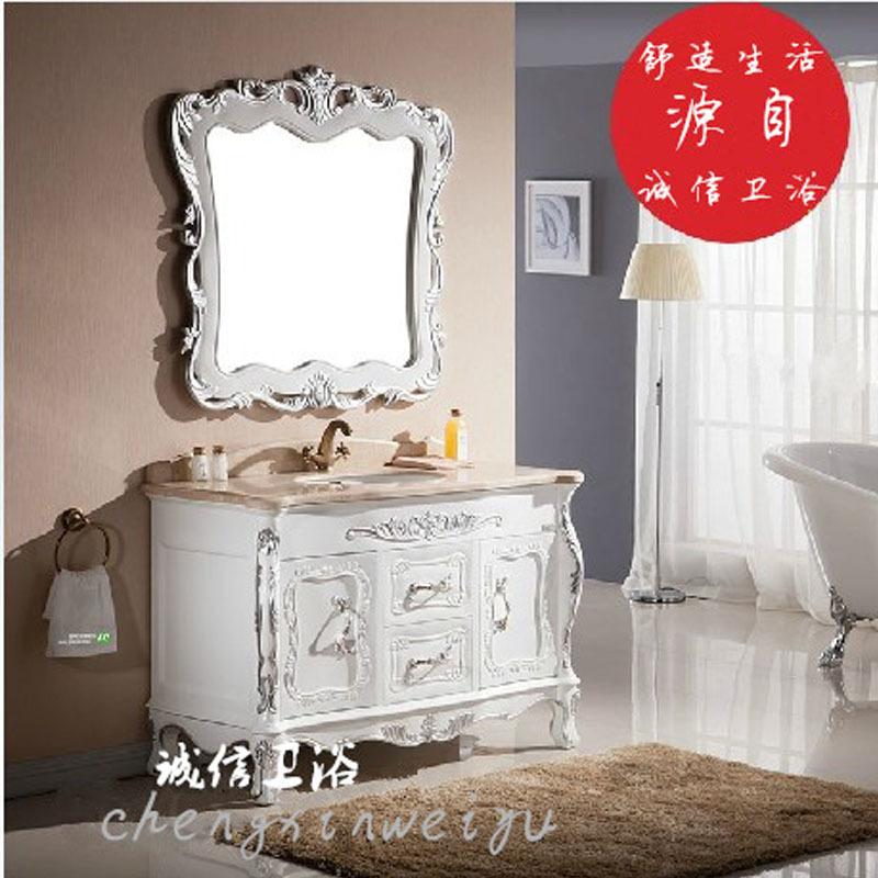 欧式浴室柜橡木落地卫浴柜组合柜大理石洗脸池洗手盆
