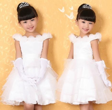 【图】网友推荐单品:儿童公主裙小主持人白色演出服舞