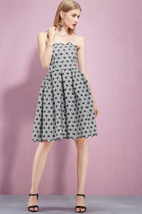 黑白立体花朵抹胸裙】-衣服-连衣裙