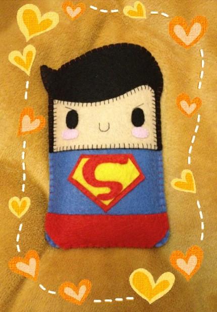 不织布diy 超可爱superman造型手机套 拿来放自拍神器