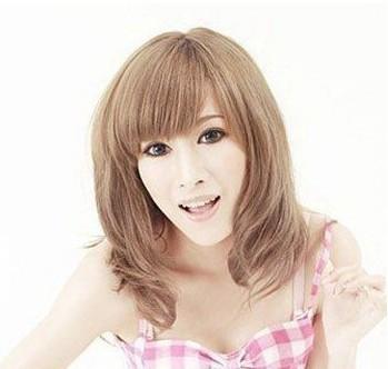[13013bi]七分平刘海  一款奶茶色系的梨花头发图片