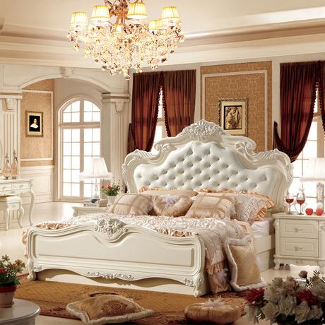 欧式真皮实木高箱床搭配图片