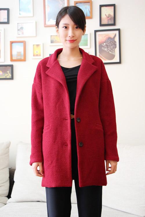 枣红色呢子大衣~搭配休闲西装裤~高端洋气上档次啊