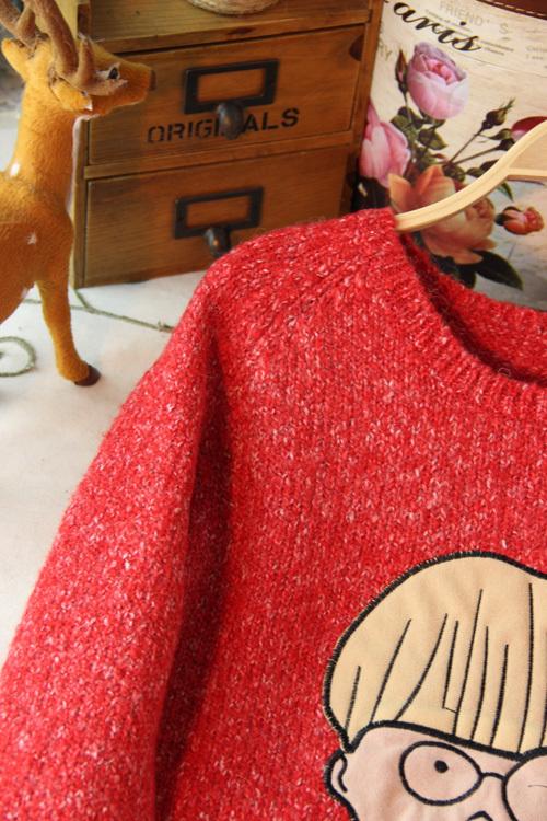 可爱娃娃粗线宽松甜美套头毛衣