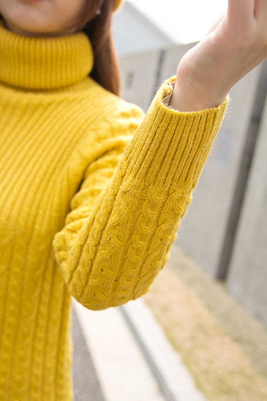 【编织麻花长款高领毛衣】-衣服-芬妮小姐-蘑菇街优