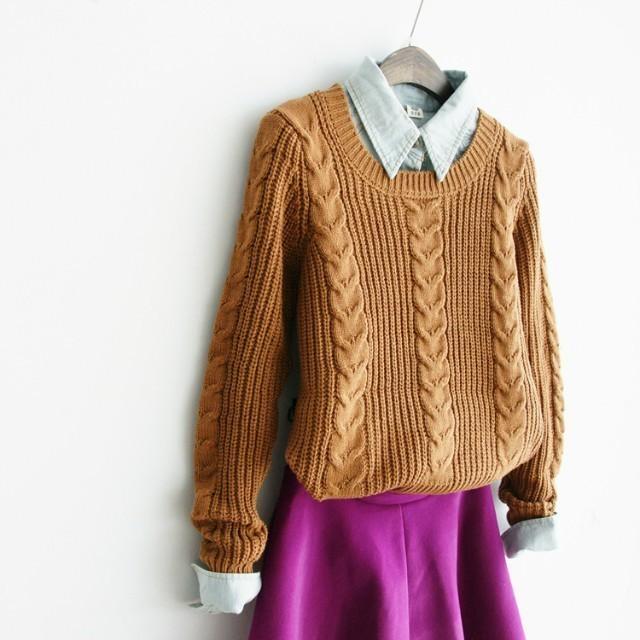 【加厚元宝针套头毛衣】-衣服-服饰鞋包