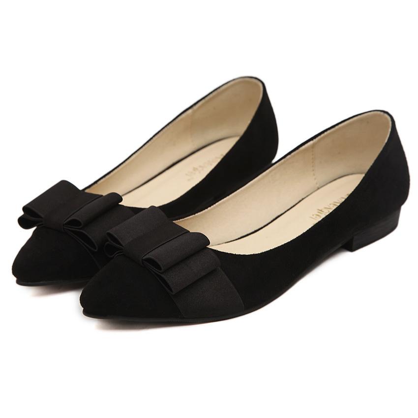 欧美显瘦蝴蝶结尖头平底单鞋