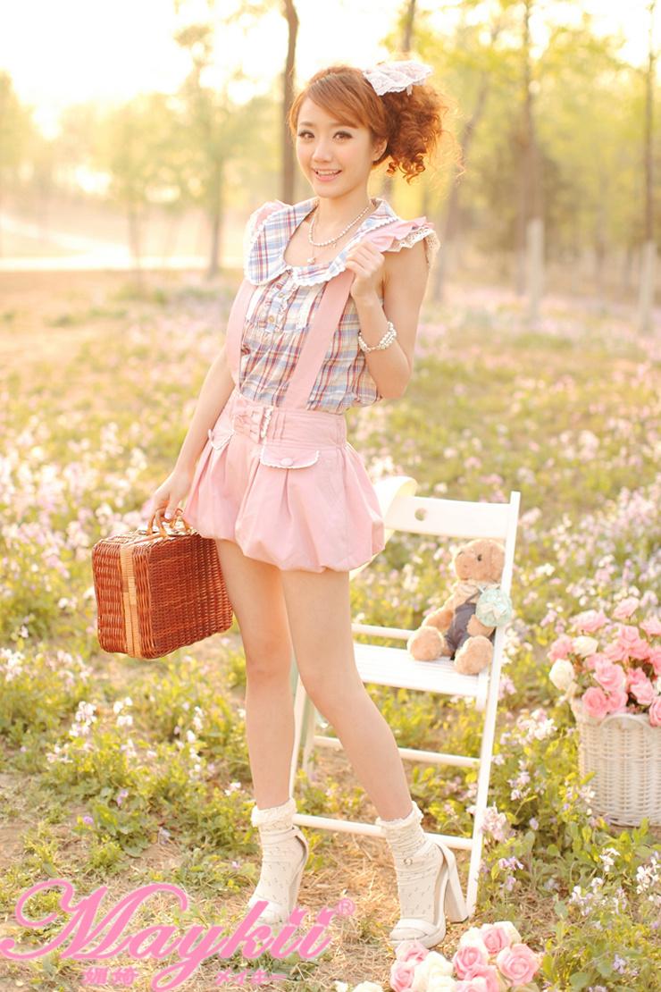 【可爱娃娃领格子t恤】-t恤