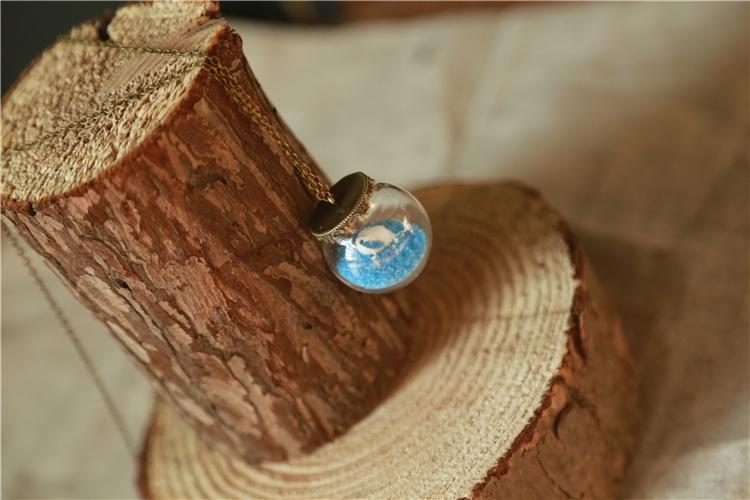 沙滩上的贝壳 立体玻璃球项链