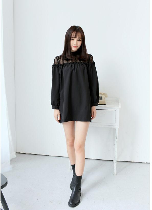 【钩花拼接蕾丝连衣裙】-衣服-连衣裙