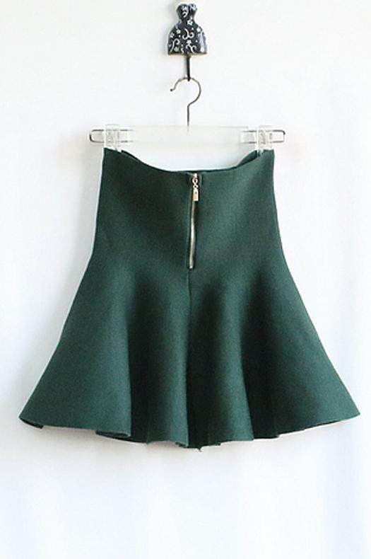 【针织高腰拉链太阳裙】-衣服-半身裙