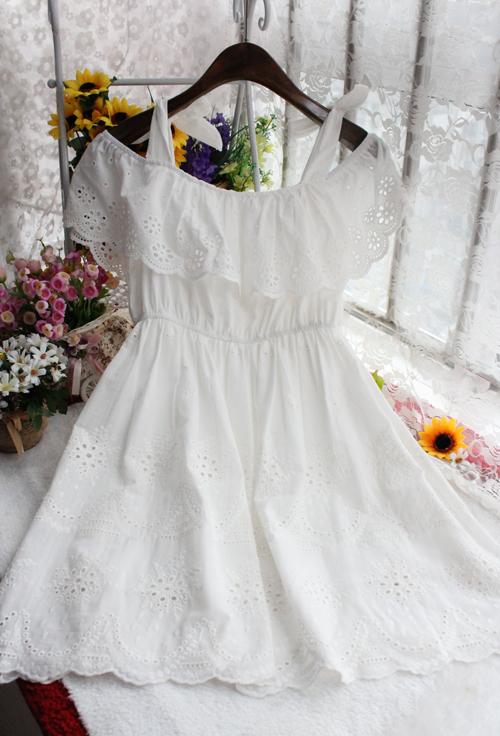 【蝴蝶结系带公主白色连衣裙】-衣服-连衣裙_裙子__鞋