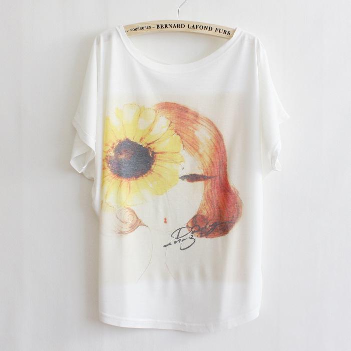 【猫咪印花图案t恤】-衣服-t恤_上装_女装_服饰鞋包