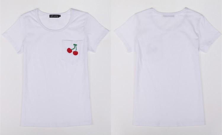 夏季新款口袋樱桃绣花纯棉t恤整体款式