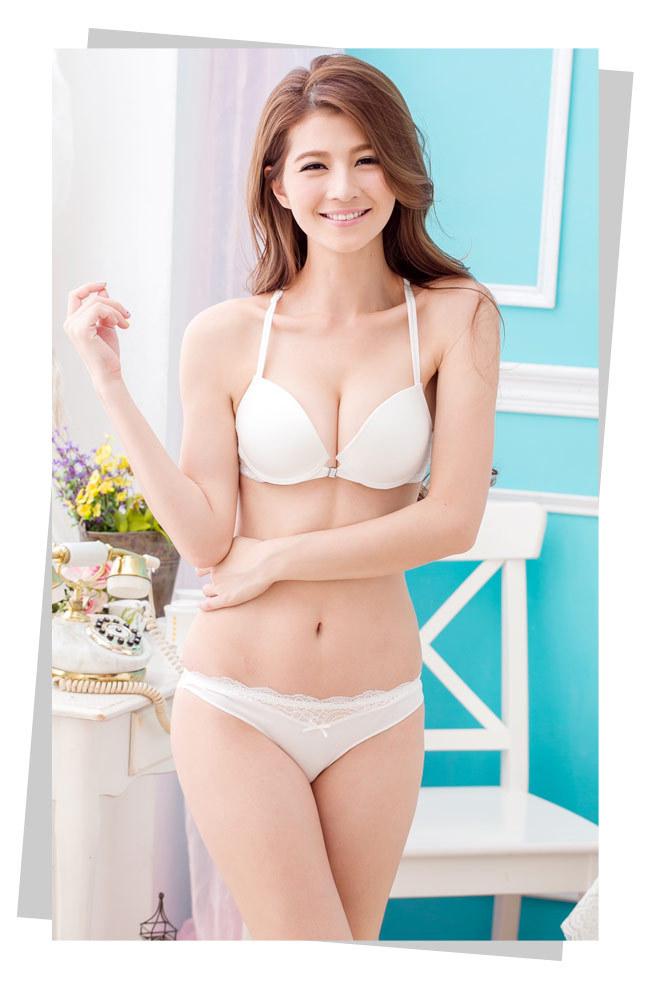 【日系白色前扣美背文胸套装】-内衣-女士内衣/家居服