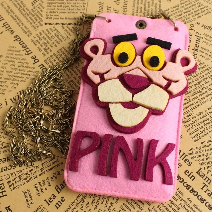粉红豹 不织布羊毛毡挂绳手机套