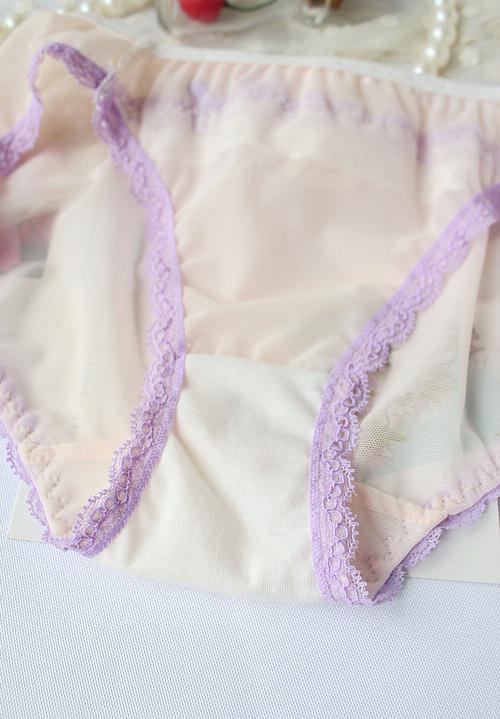 可爱蕾丝花边性感透明网纱内裤