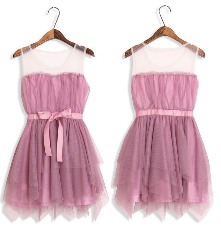 【拼接网纱蓬蓬裙】-衣服-连衣裙