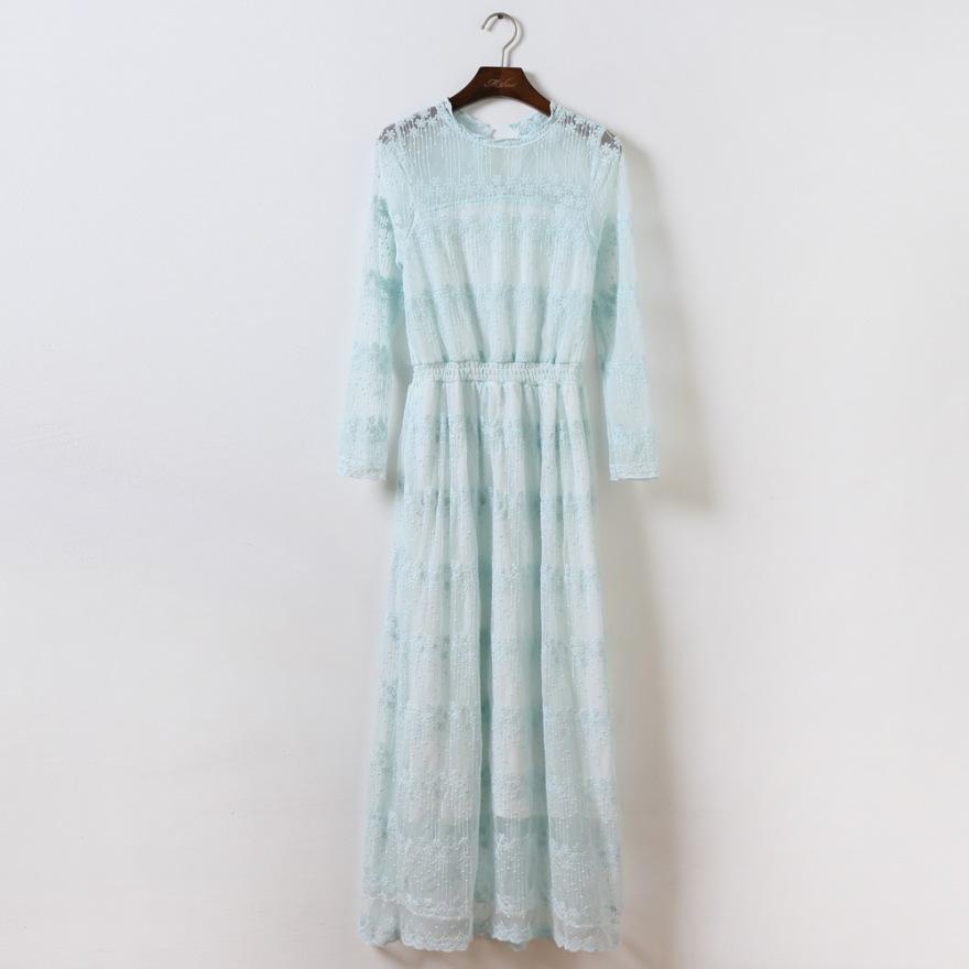 蕾丝长袖长裙
