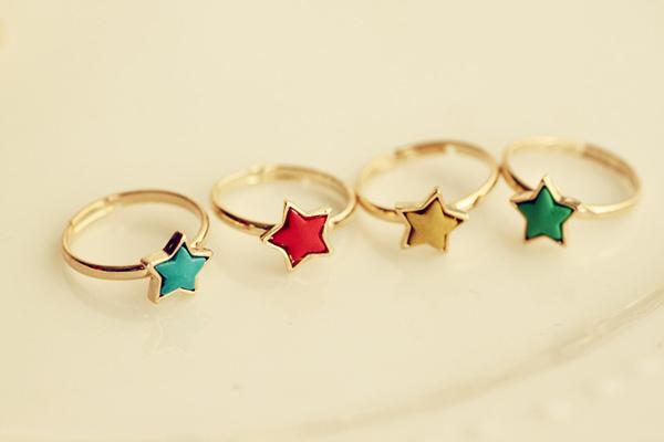 可爱小清新五角星戒指