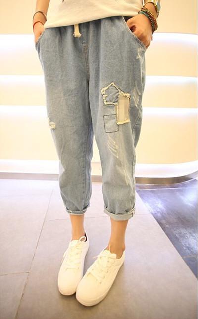【七分牛仔哈伦裤】-牛仔裤