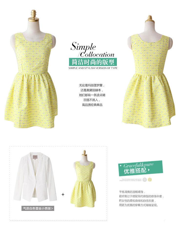 【刺绣花纹收腰波点连衣裙】-衣服-裙子