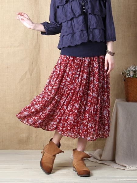 【碎花雪纺百折半身裙】-衣服-半身裙_裙子_服饰鞋包