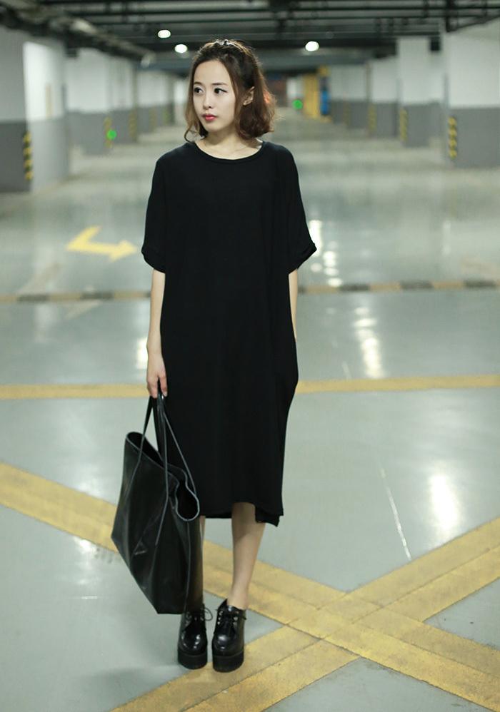 春夏新款简约时尚纯色连衣长裙