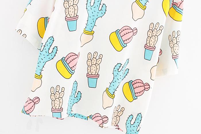 韩版卡通仙人掌短款t恤