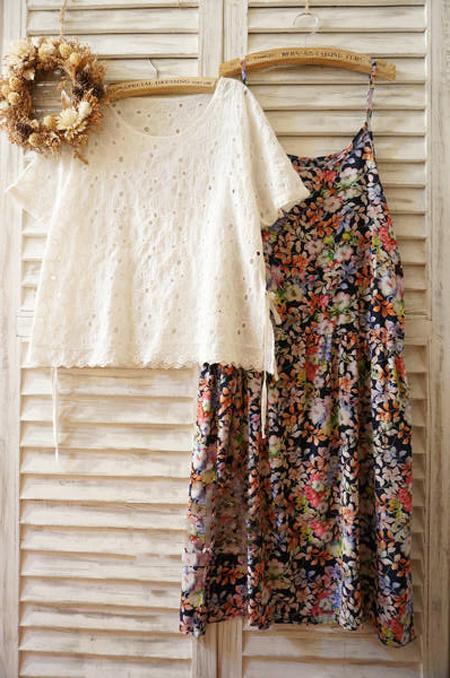 碎花镂空罩衫吊带真2件套连衣裙