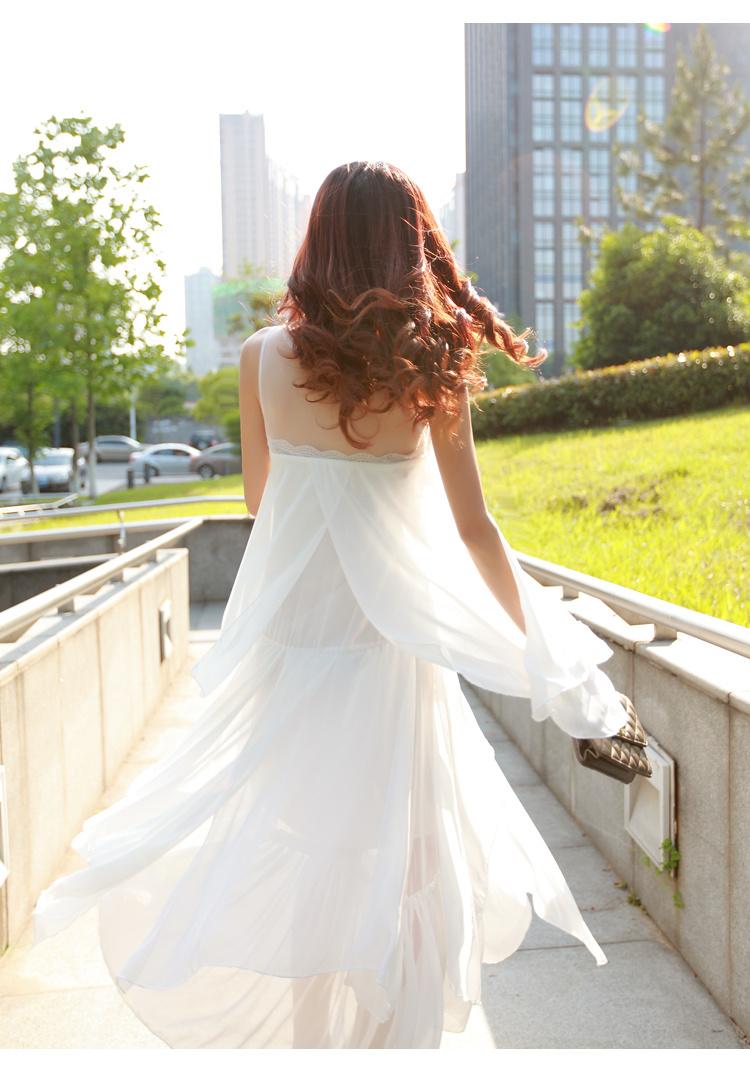 波西米亚雪纺不规则拖地长裙
