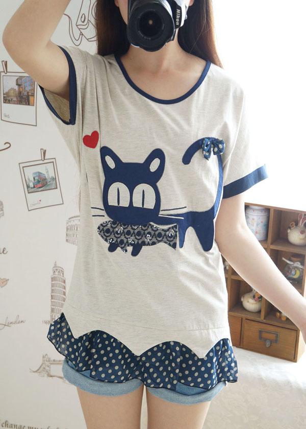 【可爱小猫吃鱼雪纺拼宽松短袖t恤】-衣服-服饰鞋包