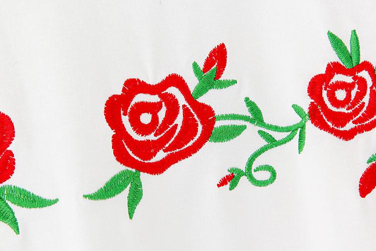 刺绣玫瑰花宽松短袖t恤