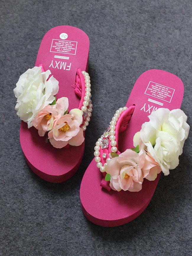 手工缝水钻宝石珍珠玫瑰人字拖鞋