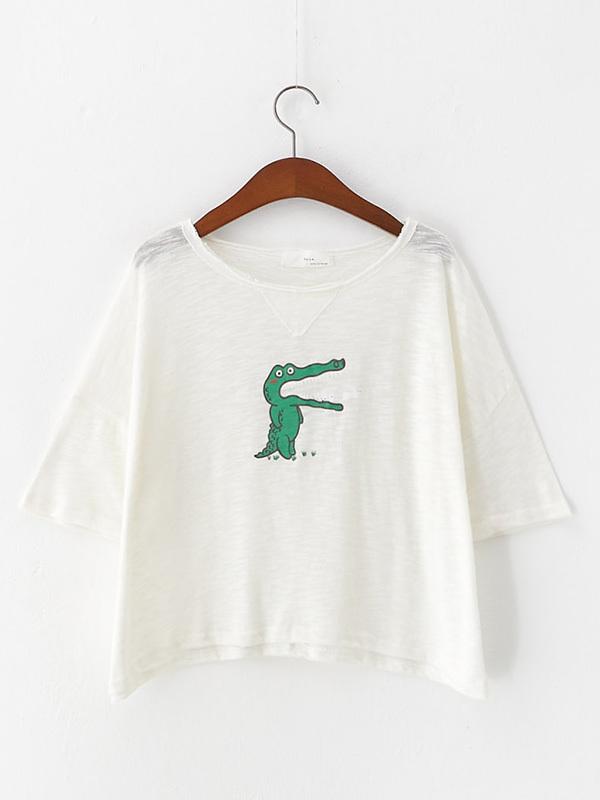 韩版新款小恐龙印花不规则t恤衫