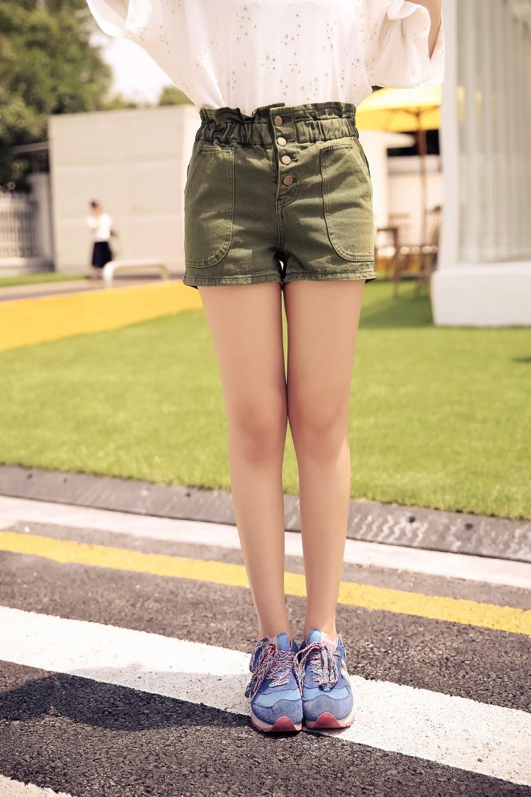 【小清新松紧腰牛仔短裤】-衣服-牛仔裤