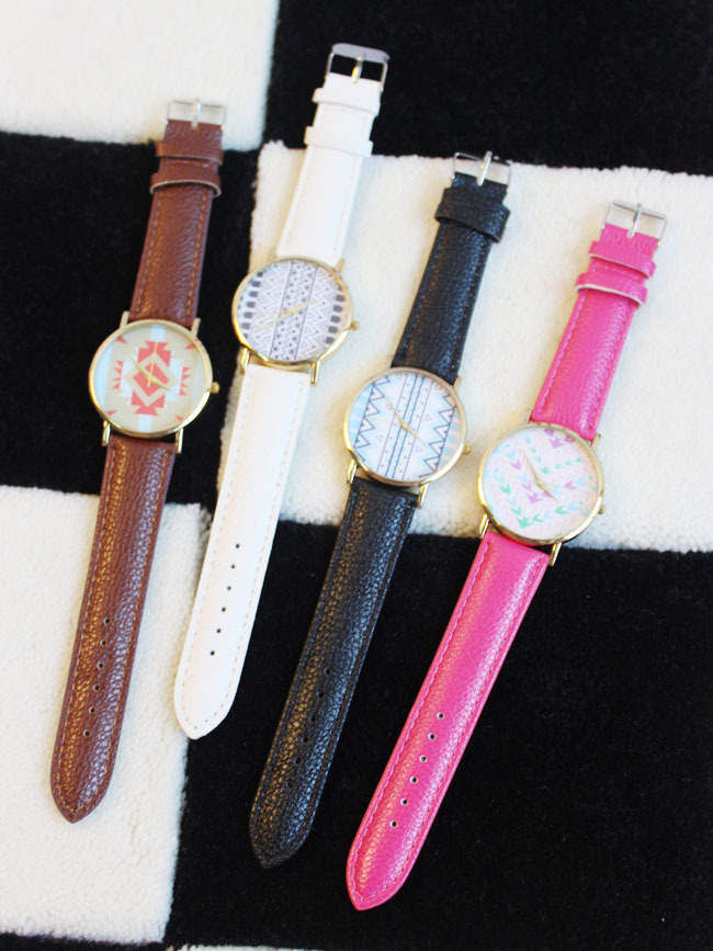 复古几何彩色花纹手表