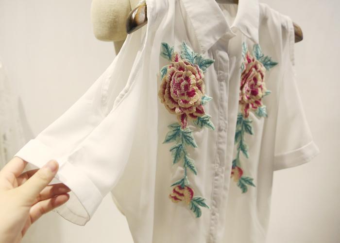 【中国风立体花朵刺绣露肩雪纺上衣】-衣服-服饰鞋