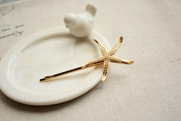 海星贝壳发夹(一对)