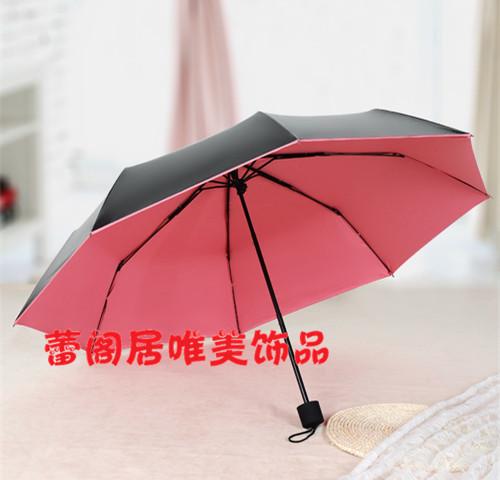 小清新糖果色黑胶晴雨伞