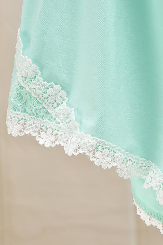 【薄荷绿蕾丝吊带上衣+短裤家居服】-内衣-女士内衣