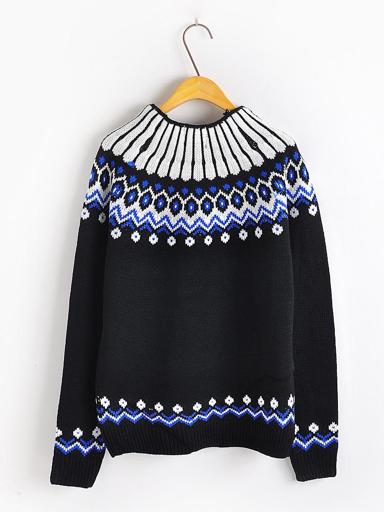 【韩版民族风图案针织毛衣】-衣服-其他毛衣