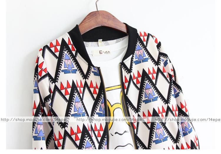 【韩国秋装三角形图案宽松棒球外套】-衣服-服饰鞋包