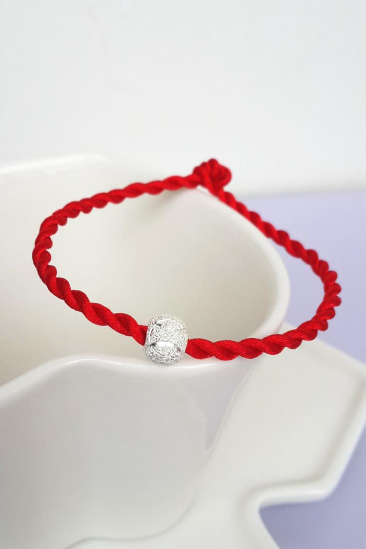 新款纯银转运珠红绳编织手链