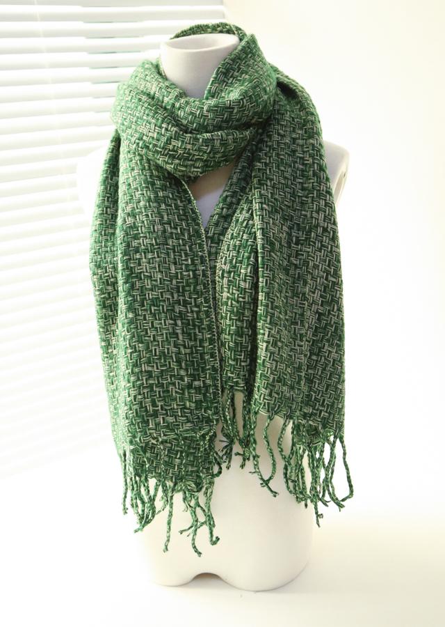秋冬双色毛线编织流苏围巾