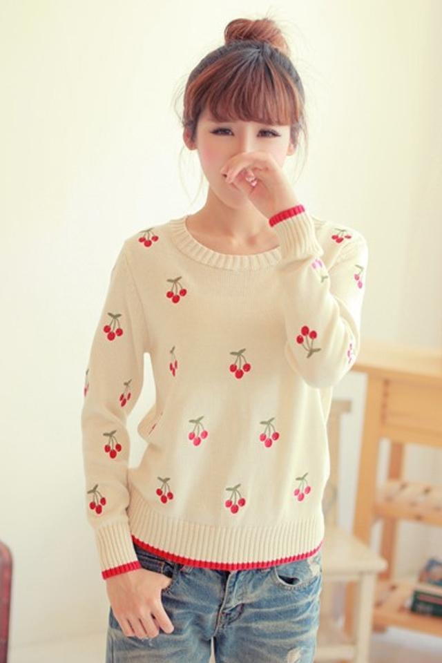 樱桃图案纯棉水果刺绣毛衣
