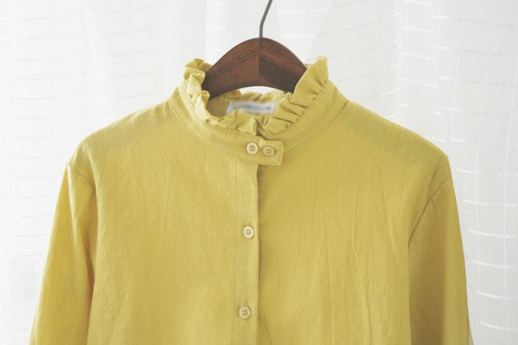 【褶皱花边立领棉麻衬衫】-衣服-衬衫