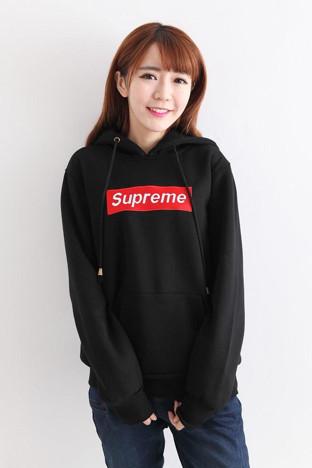 韩版刺绣supreme加绒宽松卫衣