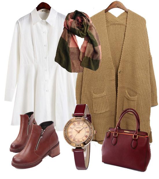 白色连衣裙和针织长衫的组合,搭配乖巧拼色感围巾和手提包.
